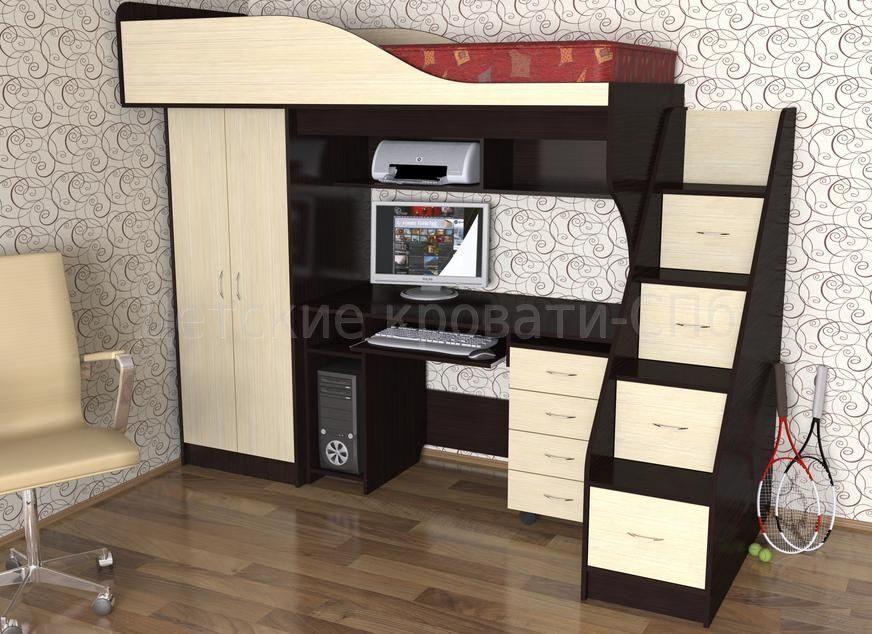 Детская кровати совместные со столом и шкафом